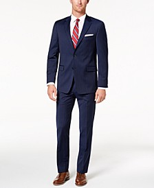 Men's Modern-Fit TH Flex Stretch Navy Pinstripe Suit Separates