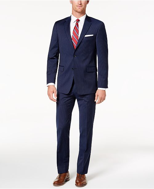 Tommy Hilfiger Men's Modern-Fit TH Flex Stretch Navy Pinstripe Suit Separates