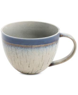 Elite Reactive Glaze Beige Mug with Cobalt Rim