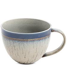 Gibson Elite Reactive Glaze Beige Mug with Cobalt Rim