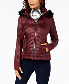 MICHAEL Michael Kors Mixed-Media Hooded Puffer Coat