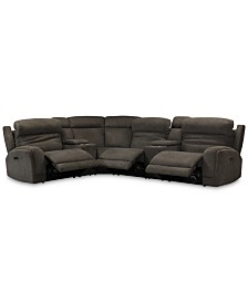 Winterton 6-Pc. Fabric Sectional Sofa With 3 Power Recliners, Power Headrests, Lumbar, 2 Consoles And USB Power Outlet
