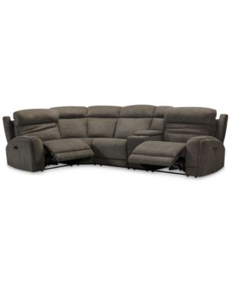 Winterton 5-Pc. Fabric Sectional Sofa With 2 Power Recliners, Power Headrests, Lumbar, Console And USB Power Outlet