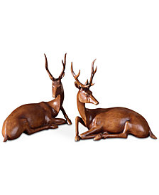 Uttermost Buck Wood Tone Statues, Set of 2