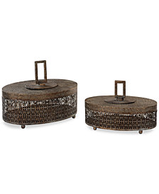 Uttermost Set of 2 Agnese Antique-Look Gold-Tone Boxes
