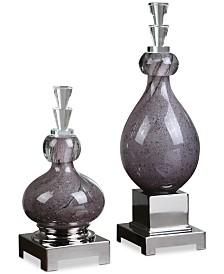 Uttermost Charoite Purple Glass Bottles, Set of 2