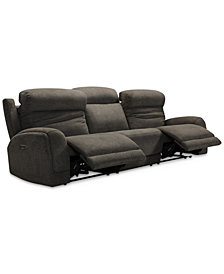 "Winterton 135"" 3-Pc. Fabric Power Reclining Sectional Sofa With 2 Power Recliners, Power Headrests, Lumbar And USB Power Outlet"