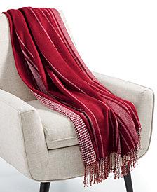 "Martha Stewart Collection Oversized Reversible Herringbone 60"" x 80"" Throw, Created for Macy's"