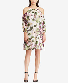 American Living Floral-Print Cold-Shoulder Dress