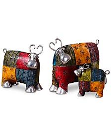Colorful Cows Set of 3 Metal Figurines