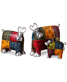 Uttermost Colorful Cows Set of 3 Metal Figurines