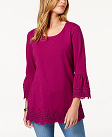 Charter Club Crochet-Embellished Top, Created for Macy's