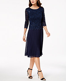 Alex Evenings Petite Pleated & Sequined Lace Dress