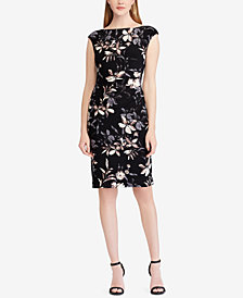 Lauren Ralph Lauren Petite Floral-Print Ruched Dress, Regular & Petite