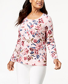 Karen Scott Petite Printed Long-Sleeve T-Shirt, Created for Macy's