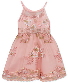 Rare Editions Little Girls Embroidered Illusion Neck Dress