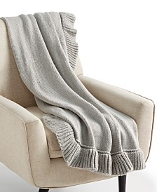 """CLOSEOUT! Whim by Martha Stewart Collection 50"""" x 60"""" Ruffle Throw, Created for Macy's"""