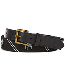 Polo Ralph Lauren Men's Striped Bulldog Webbed Belt