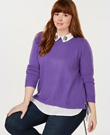 Charter Club Plus Size Pure Cashmere Layered-Look Sweater, Created for Macy's