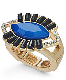 Thalia Sodi Gold-Tone Crystal & Stone Evil-Eye Stretch Ring, Created for Macy's