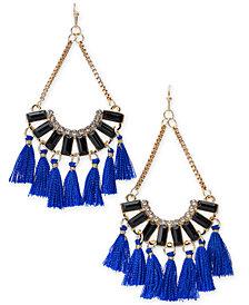 Thalia Sodi Gold-Tone Crystal, Stone & Tassel Chandelier Earrings, Created for Macy's