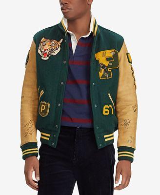 Polo Ralph Lauren Men S Patch Letterman Jacket Coats Jackets