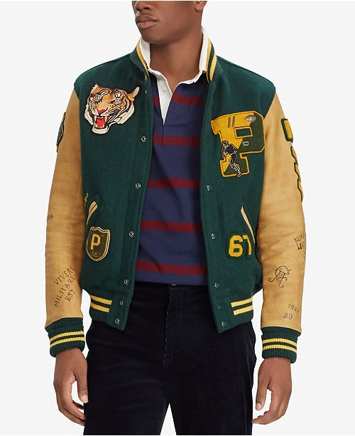 Polo Ralph Lauren Men s Patch Letterman Jacket - Coats   Jackets ... f7bfd74633a