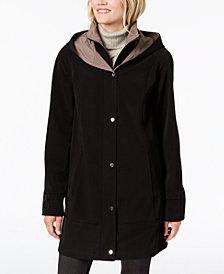 Jones New York Snap Front Colorblock Hooded Raincoat