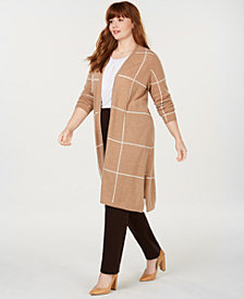 Charter Club Plus Size Pure Cashmere Windowpane Sweater Coat, Created for Macy's