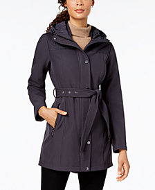 MICHAEL Michael Kors Petite Hooded Belted Softshell Coat
