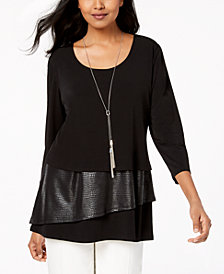JM Collection Petite Faux-Leather Layered Necklace Top, Created for Macy's