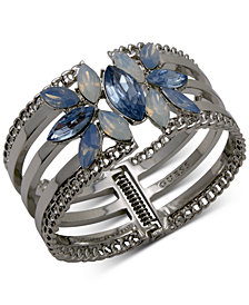 GUESS Silver-Tone Crystal & Stone Flower Triple-Row Cuff Bracelet