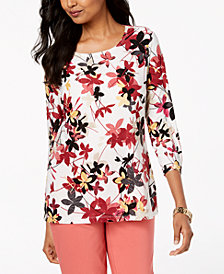JM Collection Petite Printed 3/4-Sleeve Jacquard Top, Created for Macy's
