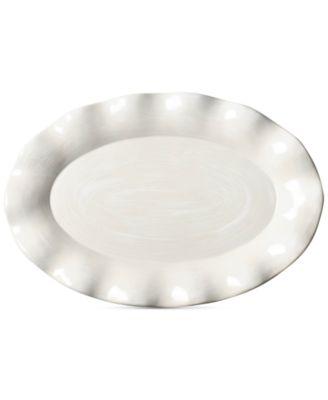 Signature Ruffle White Oval Platter