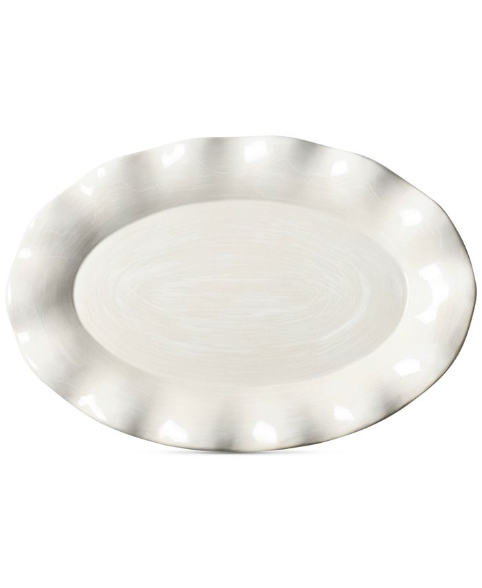 Coton Colors - Signature Ruffle White Oval Platter