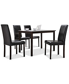 Aurra 5-Pc. Dining Set (1 Table & 4 Chairs), Quick Ship