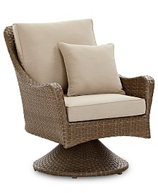 CLOSEOUT! Silver Lake Indoor/Outdoor Swivel Club Chair with Sunbrella® Cushions, Created for Macy's