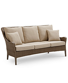 Silver Lake Indoor/Outdoor Flat Rattan Sofa, with Sunbrella® Cushions, Created for Macy's