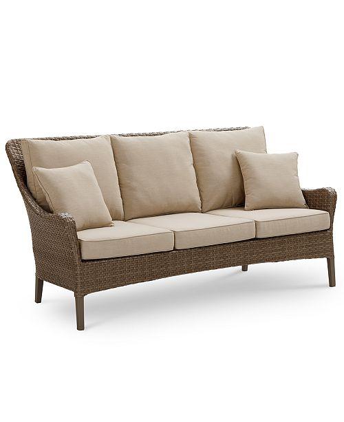 Furniture Silver Lake Indoor Outdoor Flat Rattan Sofa With Sunbrella Reg Cushions Created