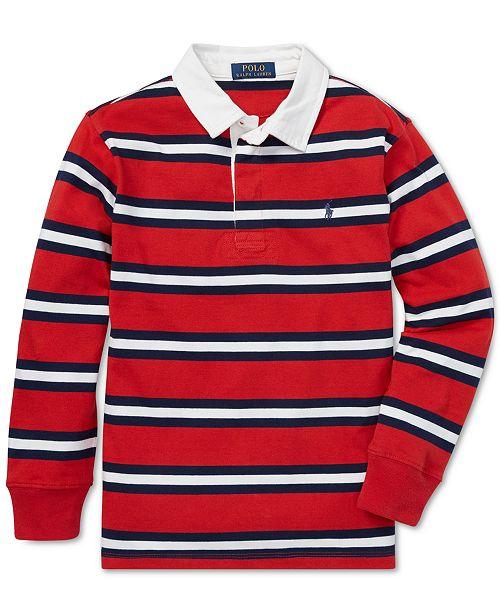 60ba9dee6e9 ... Polo Ralph Lauren Big Boys Striped Cotton Jersey Rugby Shirt ...