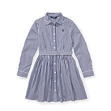 Polo Ralph Lauren Big Girls Striped Cotton Shirtdress