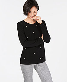Charter Club Embellished Pure Cashmere Sweater, Created for Macy's