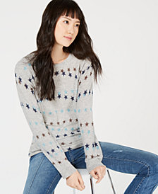 Charter Club Pure Cashmere Star-Print Sweater, Created for Macy's