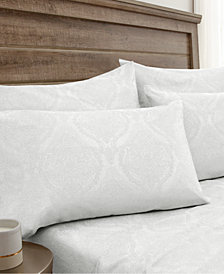 Jacquard Damask 800 Thread Count 6-Pc. White Full Sheet Set