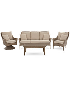 Silver Lake Indoor/Outdoor Flat Rattan 4-Pc. Seating Set (1 Sofa, 1 Club Chair, 1 Swivel Club Chair and 1 Coffee Table) with Sunbrella® Cushions, Created for Macy's