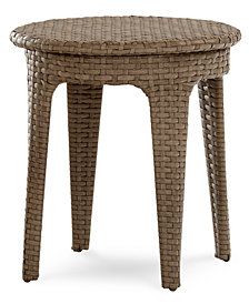 Silver Lake Indoor/Outdoor Flat Rattan Round End Table, Created for Macy's