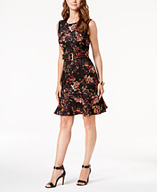Ivanka Trump Belted Floral-Print Fit & Flare Dress