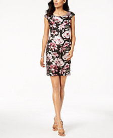 Connected Petite Metallic Floral Sheath Dress