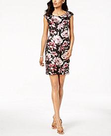 Connected Petite Metallic Floral Sheath Dress