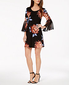 MSK Petite Floral Bell-Sleeve Dress